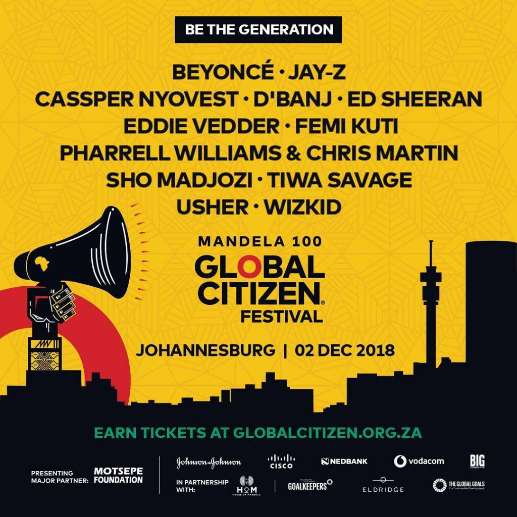 BEYONCÉ AND JAY-Z WILL HEADLINE THE FIRST GLOBAL CITIZEN FESTIVAL TO BE HELD IN SOUTH AFRICA!